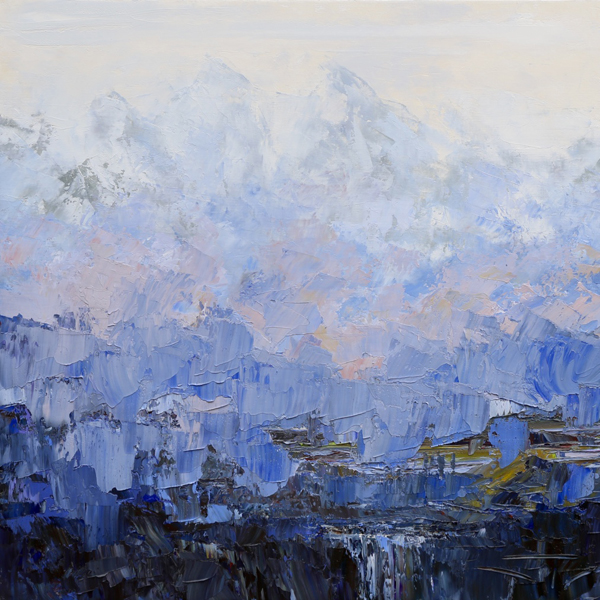 Cascade under the fog 80x80cm 2016 collection privée