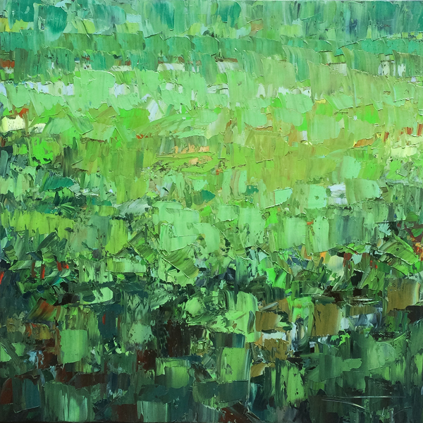 Green harmony 100x100cm 2016 Abstract painting