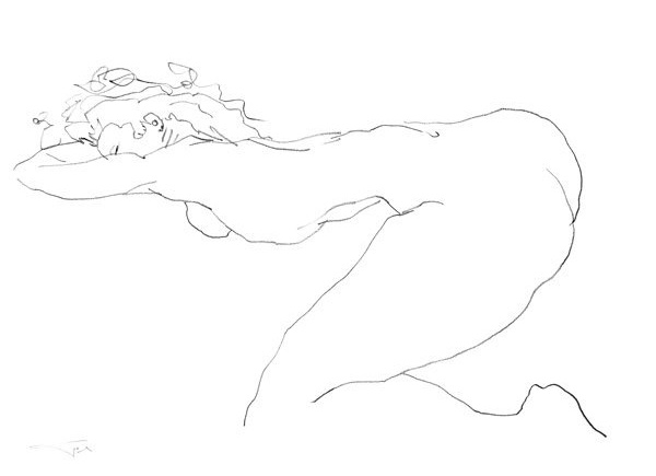 Nu NL7 42x30cm 2008 Nude drawing collection privée