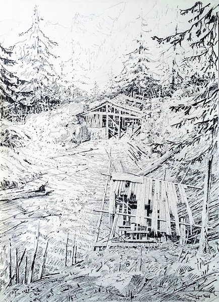 The sheds in the mountains 42x30cm 2016 Figurative drawing