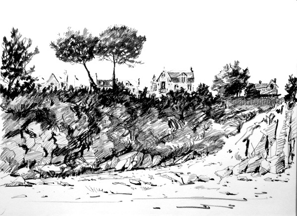Cancale Drawing Charoal on paper Pencil drawing sketch