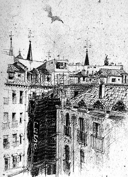 Madrid échafaudage 21x30cm architecture drawing sketch book pecncil drawing