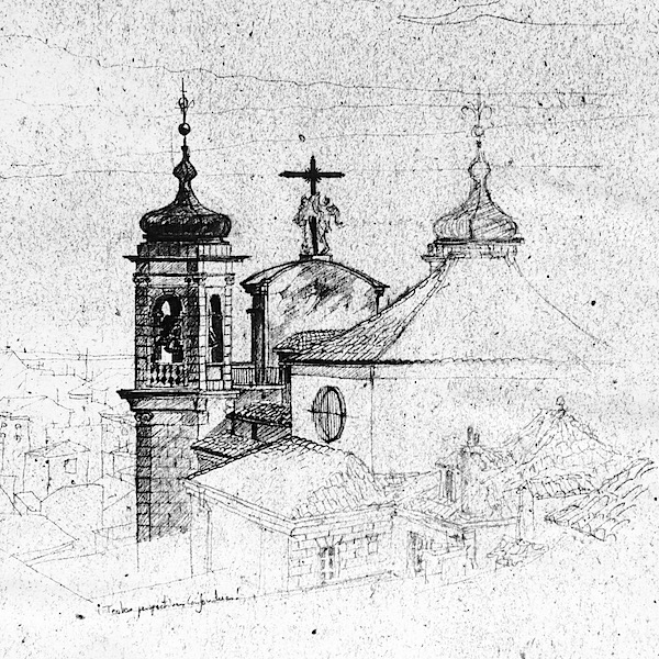 Madrid Church pencil drawing architecture sketch