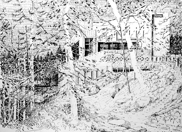 The house in the woods drawing on paper pencil sketch