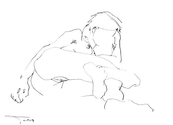François-Edouard Finet Nu eroticart EW8 42x30cm 2015 Crayon gras sur papier nude drawing charcoal on paper erotic art