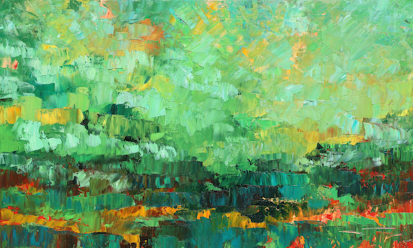 Matin vert turquoise 146x89cm 2018 collection privée
