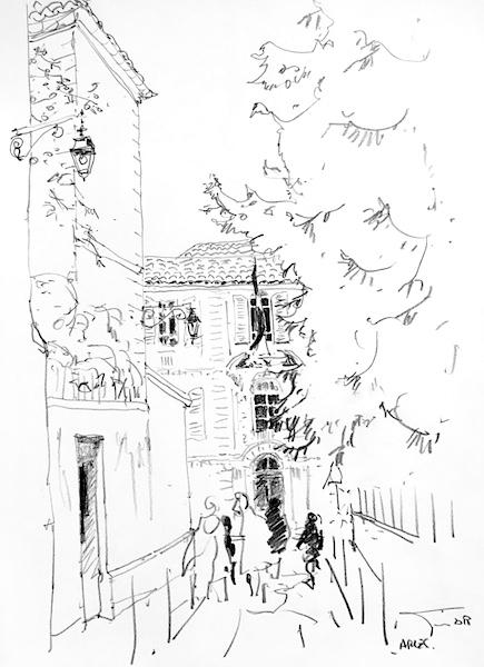 Arles crayon gras sur papier 42x30cm 2018