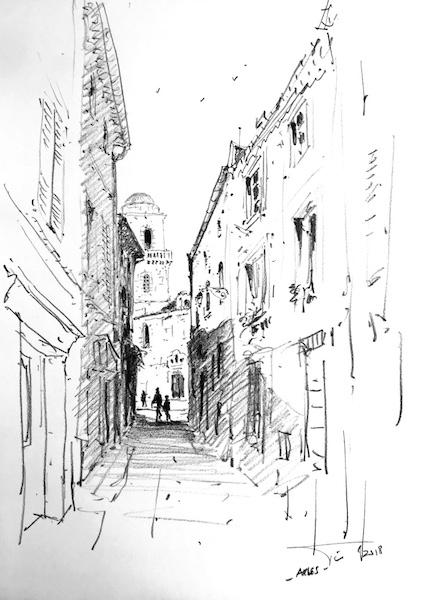 Arles ruelle matin 42x30cm 2018