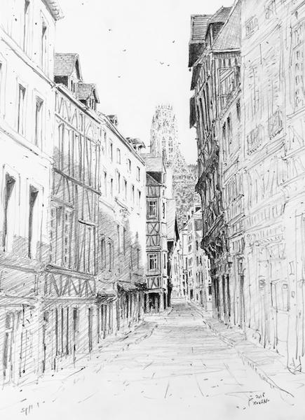 Rue Damiette Rouen Haute-Normandie 42x30cm crayon gras 2018