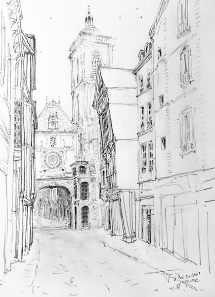 Rue due Gros-Horloge Rouen Haute-Normandie 42x30cm crayon gras 2018