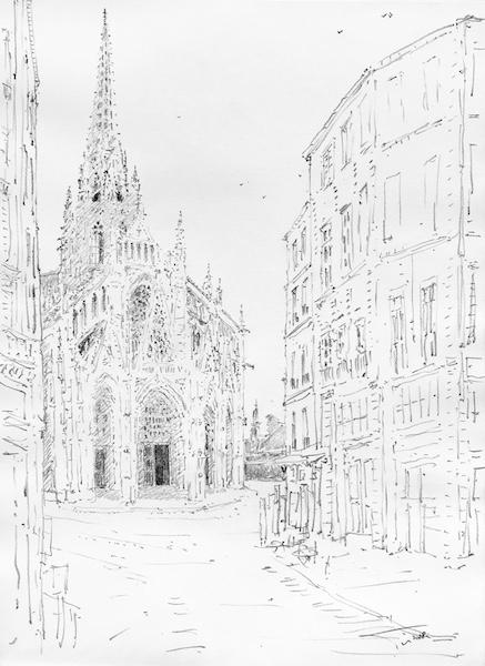 L'église Saint-Maclou de Rouen au matin crayon gras sur papier 30x42cm 2018 collection privée