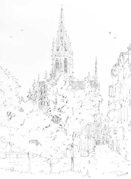 L'église Saint-Maclou de Rouen et l'arbre crayon gras sur papier 30x42cm 2018 collection privée