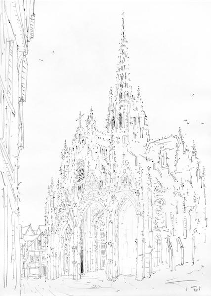 L'église Saint-Maclou de Rouen depuis la rue Malpalu  crayon gras sur papier 30x42cm 2018 collection privée