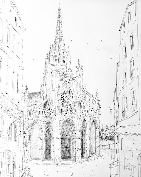 L'église Saint-Maclou de Rouen et la ruelle-crayon gras sur papier 30x42cm 2018 collection privée