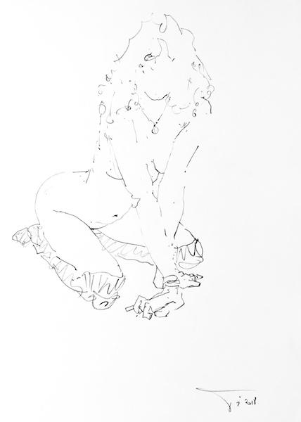 Nu AF1 30x42cm Crayon gras sur papier 2018