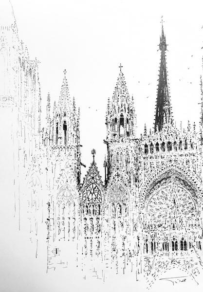 La cathédrale de Rouen et la brume 30x42cm 2018 collection privée