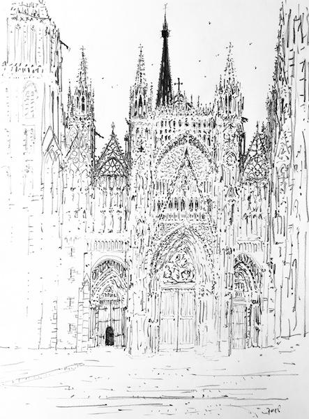 La cathédrale de Rouen au réveil 30x42cm 2018