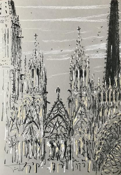 La cathédrale de Rouen et les corbeaux 30x42cm 2018