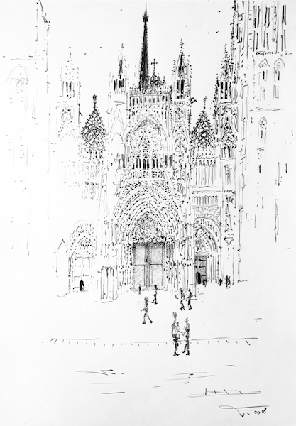 La cathédrale de Rouen en filigrane 30x42cm 2018