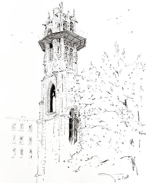 La tour Saint-André de Rouen 30x42cm crayon gras 2018