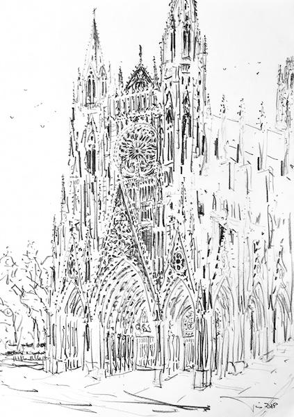 L'abbatiale Saint-Ouen de Rouen 30x42cm crayon gras 2018