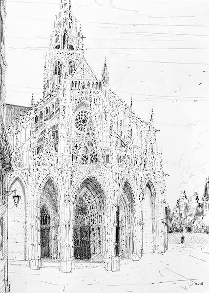 l'église Saint-Maclou dans le vent 30x42cm crayon gras 2018 collection privée