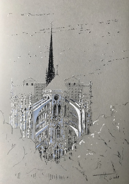 Notre-Dame de Paris and the black birds 30x42cm 2018 vendu