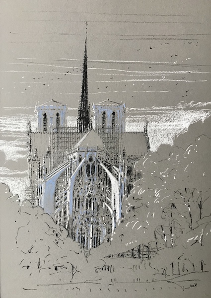Notre-Dame de Paris and the white birds 30x42cm 2018 vendu