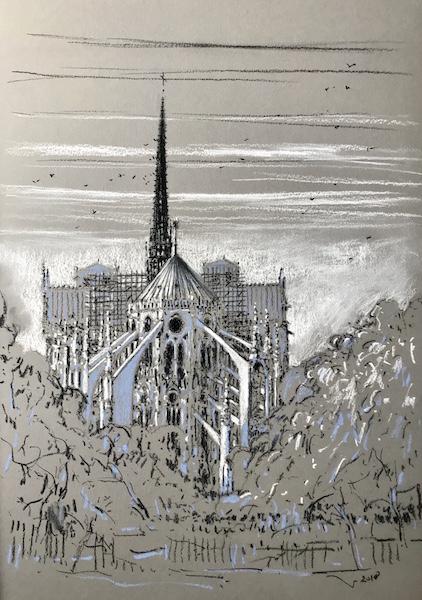 Notre-Dame de Paris arc-boutants 30x42cm 2018