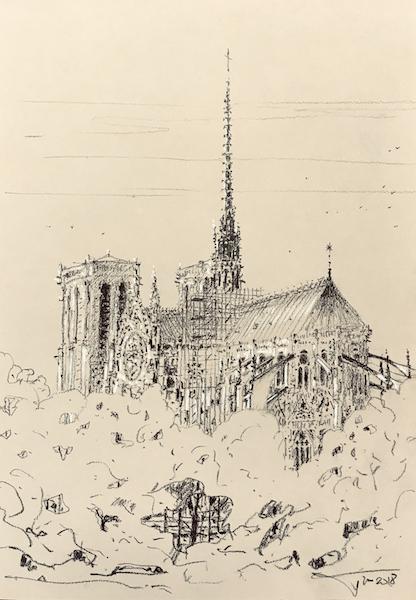 Notre Dame de Paris au charbon 30x42cm 2018