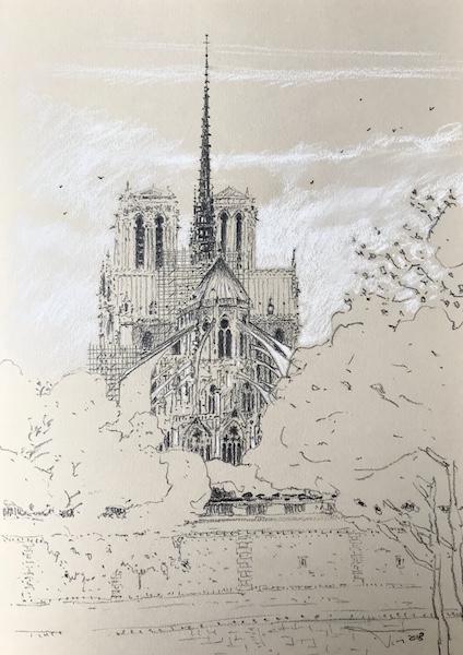 Notre Dame de Paris dans la brume 30x42cm 2018 collection privée