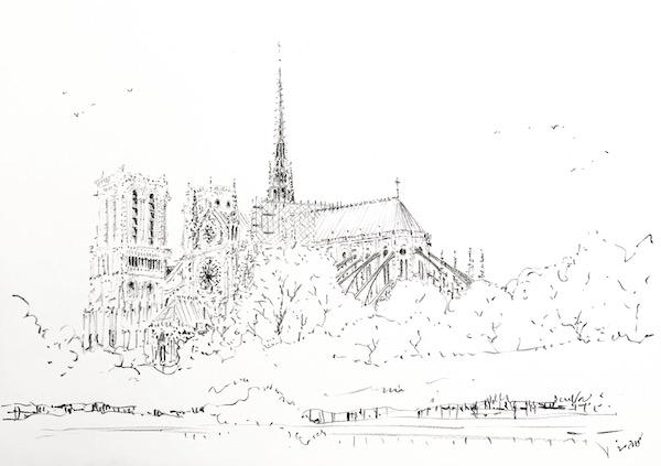 Notre Dame de Paris et les arbres 30x42cm 2018