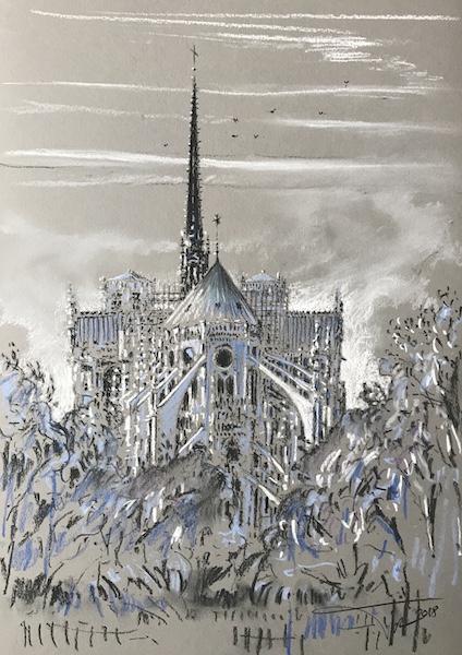 Notre-Dame de Paris et les flammes 30x42cm 2018 collection privée