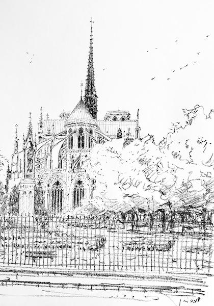 Notre-Dame de Paris et les grilles 30x42cm 2018