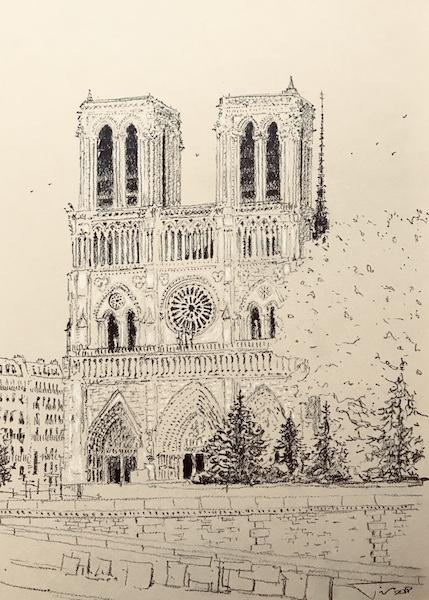 Notre Dame de Paris et les sapins 30x42cm 2018 collection privée