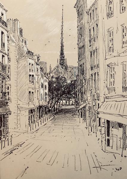 Notre-Dame de Paris rive gauche 30x42cm 2018
