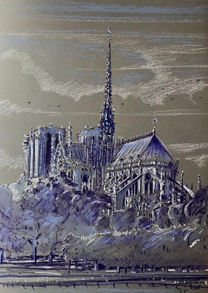 Notre Dame de Paris sous la lune 30x42cm 2018 collection privée