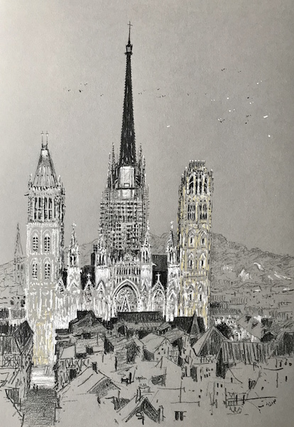 La cathédrale de Rouen élévation 30x42cm 2018