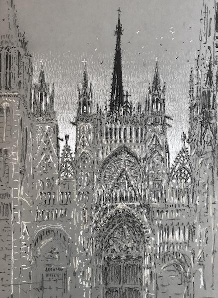 La cathédrale de Rouen au matin (2) 30x42cm 2019