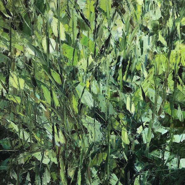 Clarté végétale 90x90cm huile sur toile 2019