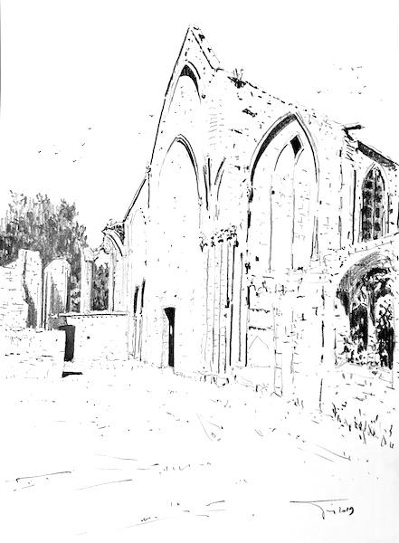 L'abbaye Sainte Marie de Longues sur mer (2) 30x42cm 2019