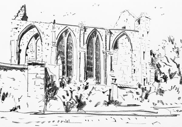 L'abbaye Sainte Marie de Longues sur mer (3) 30x42cm 2019