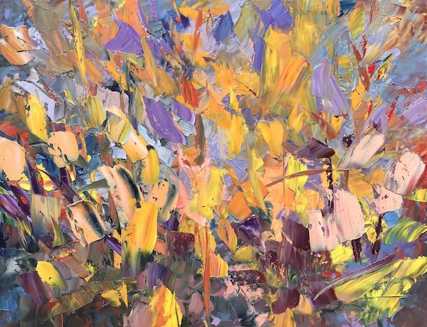 Sunset garden 116x89cm Huile sur toile 2019 collection privée
