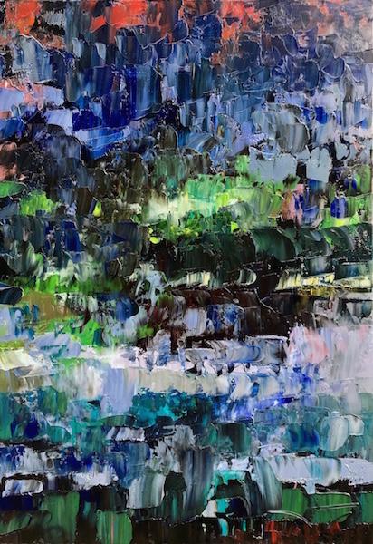 Automne vitrail 116x89cm Huile sur toile 2020