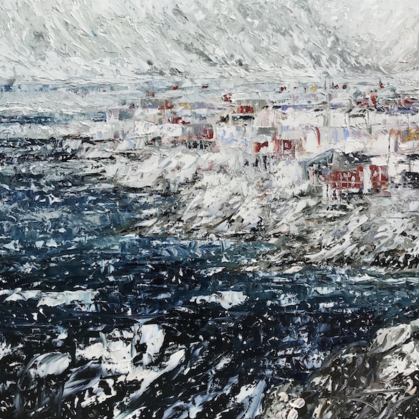 Snow storm in Lofoten Islands 100x100cm 2020