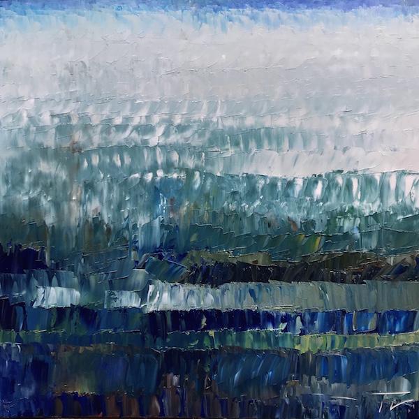 Vosges Bleu Végétal 100x100cm Huile sur toile 2020