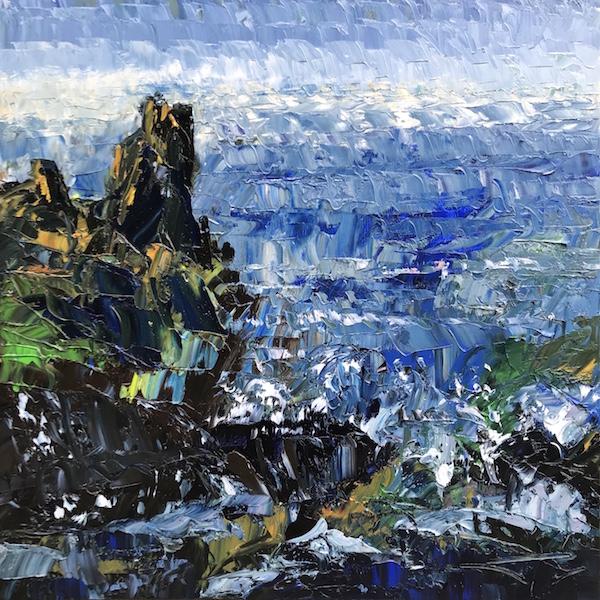L'Île d'Yeu rocher 80x80cm Huile sur toile 2021