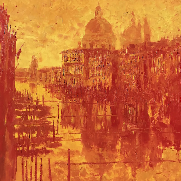 Incandescente Venise 150x150cm Huile sur toile 2021